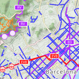 Map of bike lanes in Barcelona